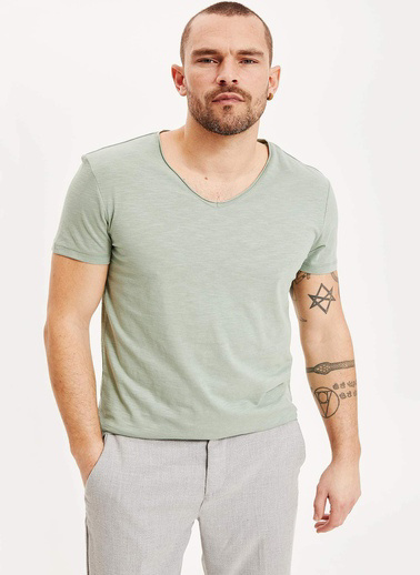 DeFacto Slim Fit V Yaka T-shirt Turkuaz